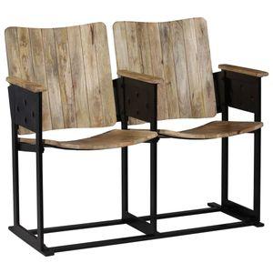 vidaXL 2-Sitzer-Bank Mango Massivholz und Stahl