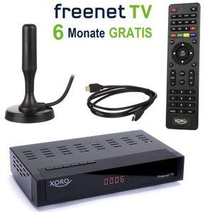 Xoro HRT 8770 KIT TWIN DVB-T2 Receiver (6 Monate FREENET TV) + aktive DVBT-2 Antenne + HDMI Kabel, HDTV, PVR Ready, USB Mediaplayer, HEVC/H.265, zusätzlicher DVB-C Tuner (Kabel TV), schwarz