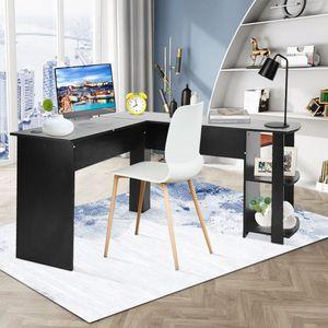 Eckschreibtisch Schwarz Computertisch PC Schreibtisch Arbeitstisch Bürotisch Winkelschreibtisch
