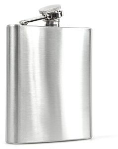 Flachmann aus gebürstetem Edelstahl | Taschen-Flasche | Trinkflasche für Abenteuer | Schraubverschlussdeckel | Old-Flask | perfekt zum Wandern und Reisen | Rostfrei und Spülmaschinenfest | 200 ml