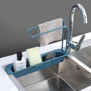 Korb Ablassen Doppelschicht Spülbeckenablage Siebkorb Abflusskorb Drain Gestell Küche Organizer Lagerregal Blau