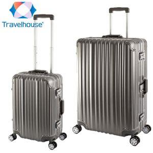 2er Reisekoffer Set, Handgepäck, Koffer L, Hartschalen Polycarbonat Alu Trolley  Travelhouse London 2er Kofferset S, L, Grau