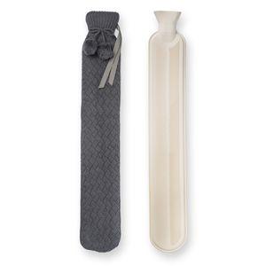 Nicola Spring Lange Wärmflasche mit Strickbezug - Extras lange mit Wraparound Krawatten und Pom-Poms - 2 Liter - Grau