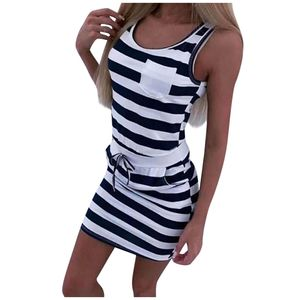Sommer Frauen lässig ärmellose Streifen T-Shirts Kleid Tunika Taille Kleider Größe:M,Farbe:Schwarz