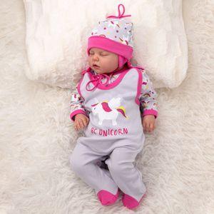 Baby Sweets Mädchen 3 Teile Set Strampler Shirt Mütze grau rosa Be Unicorn 3-6 Monate (68)