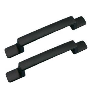 2 Stück Legierung Schranktür Zieht Griffe Wohnmöbel Türbeschläge C_Black Schwarz Einfarbig Schrank zieht