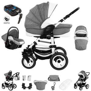 Bebebi Florenz | ISOFIX Basis & Autositz | 4 in 1 Kombi Kinderwagen | Hartgummireifen | Farbe: Galileo Lightgrey White