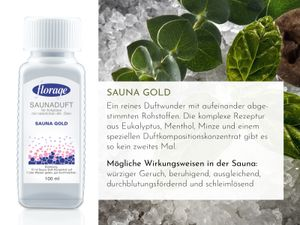 FLORAGE 100ml Saunaduft Sauna-Gold Konzentrat Saunaaufguss Saunaöl Sauna Aufguss