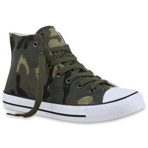 Mytrendshoe Damen High Top Sneakers Stoffschuhe Trendfarben Sportschuhe 814973, Farbe: Camouflage, Größe: 38