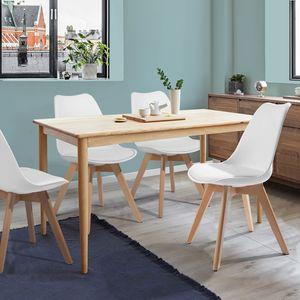 Set mit 4 skandinavischen Stühlen Esszimmer Kunststoff Kunstledersitz Weiß Massivholz Buche  Designer Kunststoff-Weiß