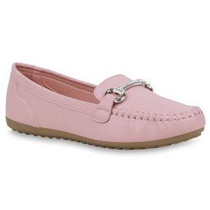 Mytrendshoe Damen Slippers Mokassins Bequem Freizeit Schuhe Strass Profilsohle 832889, Farbe: Rosa, Größe: 39