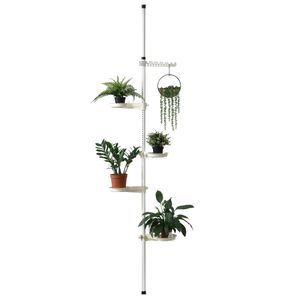 [en.casa]® Teleskop Blumenregal 110 - 305 cm - Pflanztreppe Blumentreppe Pflanzenregal Regal bis zu 8kg
