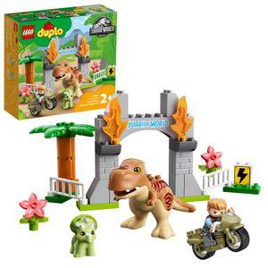 LEGO 10939 DUPLO Jurassic World Ausbruch des T-Rex und Triceratops, Dinosaurier Spielzeug Set für Kleinkinder ab 2 Jahren
