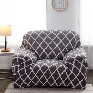 Elastischer Sofa-Überwürfe Antirutsch Stretch Sofaüberzug, Sofahusse, Sofabezug, Sofa Abdeckung Hussen für Sofa, Couch, Sessel (Grau Geometrisch, 1 Sitzer)