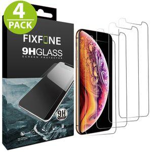 4x iPhone X/XS Panzerglas Panzerfolie Schutzglasfolie Displayschutzglas Echt Glas Schutz Folie Display Glasfolie 9H FixFone