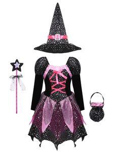 YOOJIA Halloween Hexenkostüm Kinder Mädchen Lila-Schwarz Hexenkleid mit Hexenhut Bonbontüte und Zauberstab,Gr.122-128