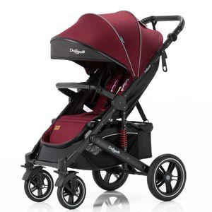 Daliya® Rapidy Buggy / Kinderwagen 0-36 Monate / Sportwagen mit Liegeposition / Wickeltasche, Winterfußsack, Ess- & Spieltisch und mehr Linen Rot – Schwarz