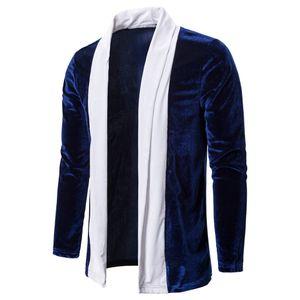 Männer Spleißen Gold Samt Trenchcoat Cardigan Langarm Outwear Bluse Größe:XL,Farbe:Dunkelblau