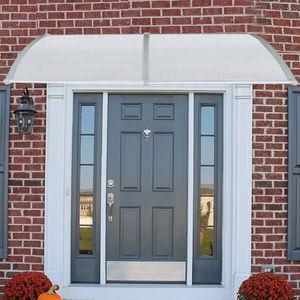 100x300cm Vordach Haustür für Haustür und Terrasse, Türvordach Pultbogenvordach Hohlkammerstegplatten, Pultvordach Alu