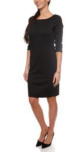 Laura Scott Jersey-Kleid körpernahes Damen Herbst-Kleid mit 3/4-Ärmeln Schwarz, Größe:38
