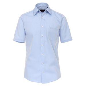 Größe 42 Casamoda Hemd Blau Uni Kurzarm Comfort Fit Normal Geschnitten Kentkragen 100% Baumwolle Bügelfrei