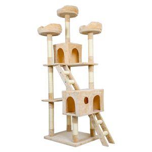 Meerveil Kratzbaum XL XXL, großer Kletterbaum mit Kratzsisal, Stabiler Kratzbaum Katzenbaum, Katzenspielhaus mit Kratzsisal, Säulen mit Natürlicher Sisal Umwickelt