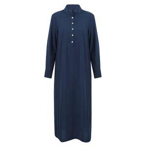 Frauen Casual Long Dress Long Sleeves Seitentaschen Schlitz Vintage Maxi Robe Cocktailkleider Dunkelblau L