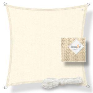 hanSe® Marken Sonnensegel HDPE Quadrat 2x2m Creme UV-Schutz Sonnenschutz Schattenspender