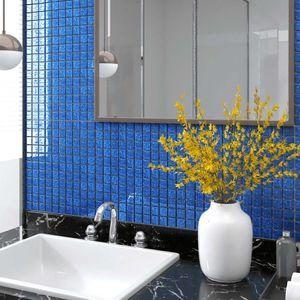 NEW Selbstklebende ölbeständige Home Kitchen Mosaikfliesen Aufkleber Abziehbilder Wanddekoration 11 Stk. Blau 30x30cm Glas