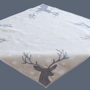 Raebel Tischdecke 110 x 110 cm grau Hellgrau weiß eisblau Silber Stickerei Hirsch Weihnachten Weihnachtsdeko Weihnachtstischdecke Mitteldecke Tischdeko