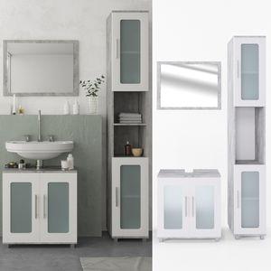 Vicco Badmöbel Set RAYK  Weiß / Grau Beton - Badezimmer Spiegel Waschtisch Unterschrank Badschrank Hochschrank