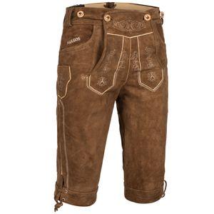 PAULGOS Herren Trachten Lederhose - Kniebund - Echtes Leder - Übergröße 62 - 72 , Farbe:Hellbraun, Größe:68
