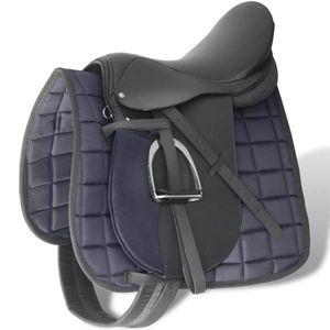 "vidaXL Pferdereiten Sattelset 17,5"" echtes Leder schwarz 18 cm 5-in-1"