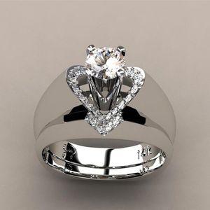 Zarte Damenmode 925 Sterling Silber Wei? Saphir Diamant Ring Engagemen