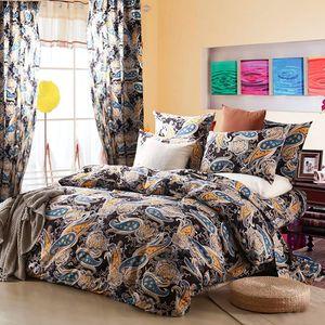 Boho Vintage-Druck Microfaser Bettwäsche Schwarz Blau Mandala Blumen 220x240cm Bettbezug Wendebettwäsche und 2x 80x80cm Kissenbezug