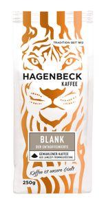 HAGENBECK - Kaffee - Blank Entkoffeiniert - Röstkaffee - Kaffeebohnen gemahlen - 250g - 100% Arabica - AROMATISCH - MILD - SÄUREARM - ENTKOFFEINIERT