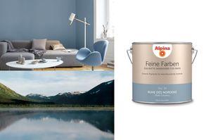Alpina 2,5 L. Feine Farben - No.14 RUHE DES NORDENS - Stilles Graublau   -  Edelmatte Wandfarbe für Innen