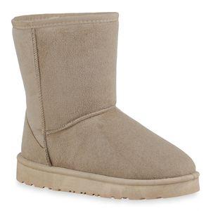 Mytrendshoe Damen Stiefel Warm Gefüttert Schlupfstiefel Flach Bequem 820260, Farbe: Beige, Größe: 37