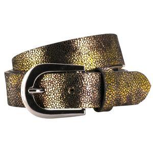 LINDENMANN The Art of Belt Ledergürtel Damen / Gürtel Damen, Rindledergürtel mit Print, goldmetallic-braun, Größe / Size:85, Farbe / Color:gold