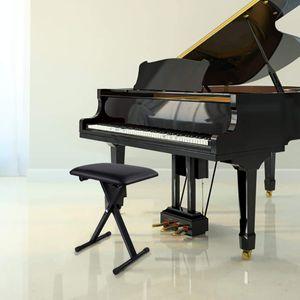 GOPLUS Keyboardbank Keyboardhocker Klavierhocker Pianobank schwarz klappbar 3-stufig hoehenverstellbar