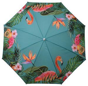 Sonnenschirm UV-Schutz 40+ Strandschirm Balkonschirm Schirm grün bunt Ø 155 cm Türkis mit Flamingo