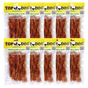 TOP DOG Hähnchenbrustfilet in Streifen - zuckerfrei - getreidefrei - 10x 80g - Snack für Hunde