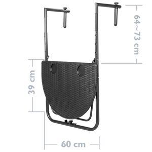 PrimeMatik - Halbkreisförmiger verstellbarer Tisch für Balkon 60x39cm schwarz