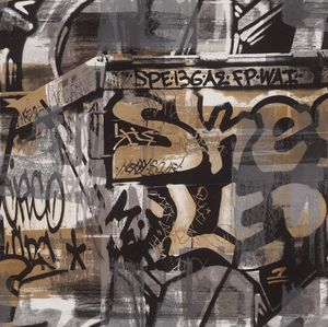 Tapete - Spiea graubraunes Graffiti | Papier | Kids & Teens 2 | Rasch