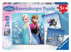 3 x 49 Teile Ravensburger Kinder Puzzle Disney Frozen Abenteuer Winterland 09264