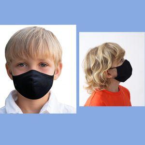 5x Waschbar Maske wiederverwendbar Atemschutzmaske Antibakterielle Baumwolle Mundschutz Maske 3-lagig Schwarz Kinder