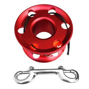 Kompakte Aluminium Fingerspule 66ft Schnurclip Wassersport Tauchen rot
