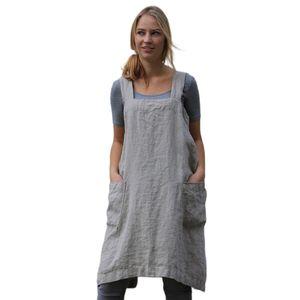 Frauen Baumwolle Leinen Schürze Ärmellose Hausmannskost Reinigungsbezug Florist Kleid