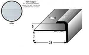"""Einschubprofil """"Stannington"""" mit Nase für Designbeläge, Einfasshöhe 5 mm, Aluminium eloxiert, gebohrt-silber-2700"""