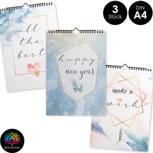 OfficeTree Bastelkalender im Aquarell Design – Kalender DIY  in Din A4 12 Blätter